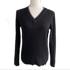 Tommy Hilfiger cable knit black v neck sweater